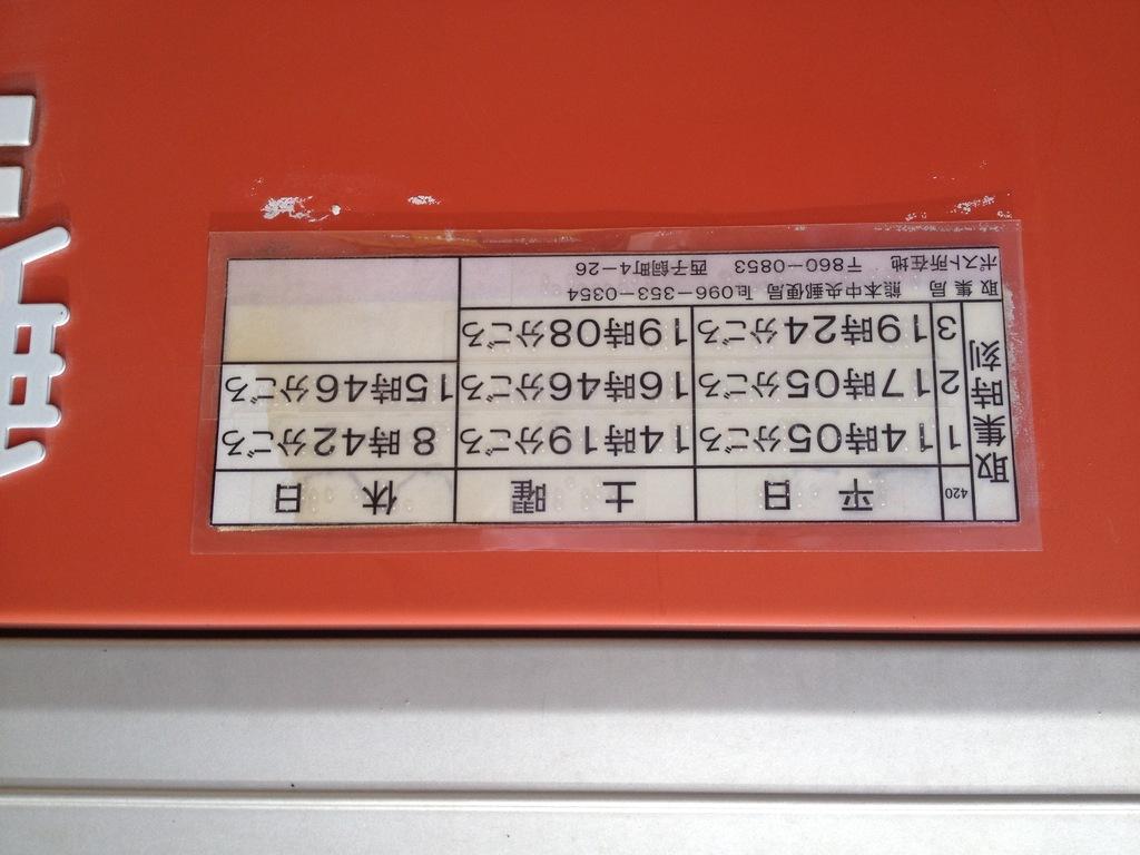 ポスト写真 : 時刻 : 熊本西子飼郵便局の前 : 熊本県熊本市中央区西子飼町4-26