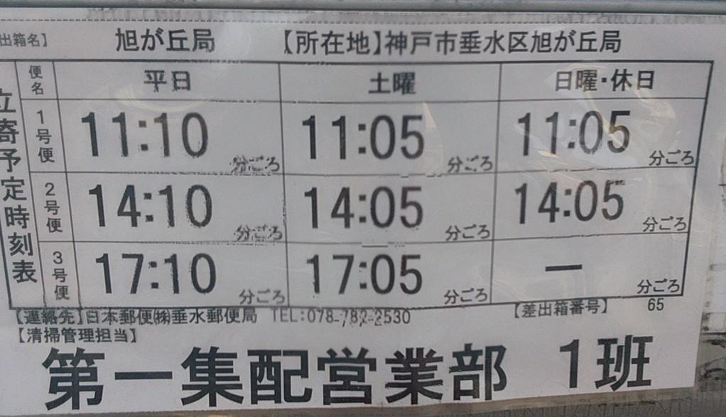 ポスト写真 :  : 神戸旭が丘郵便局の前 : 兵庫県神戸市垂水区旭が丘三丁目13-2